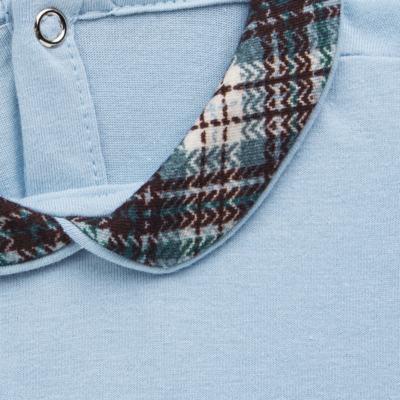 Imagem 3 do produto Body longo c/ Calça (Mijão) em algodão egípcio Windsor - Roana - 02532024370 Conjunto Body longo com Calça Azul Xadrez-RN