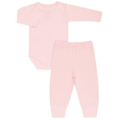 Imagem 1 do produto Body longo com Calça para bebe em algodão egípcio c/ jato de cerâmica e filtro solar fps 50 Rosa - Mini & Kids - CS196 BODY ML C/ MIJÃO SUEDINE ROSA BB-GG