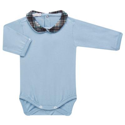 Imagem 2 do produto Body longo c/ Calça (Mijão) em algodão egípcio Windsor - Roana - 02532024370 Conjunto Body longo com Calça Azul Xadrez-M