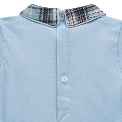 Imagem 4 do produto Body longo c/ Calça (Mijão) em algodão egípcio Windsor - Roana - 02532024370 Conjunto Body longo com Calça Azul Xadrez-M