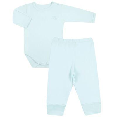 Imagem 1 do produto Body longo com Calça em algodão egípcio c/ jato de cerâmica e filtro solar fps 50 Azul - Mini & Kids - CS197 BODY ML C/ MIJÃO SUEDINE AZUL BB-P