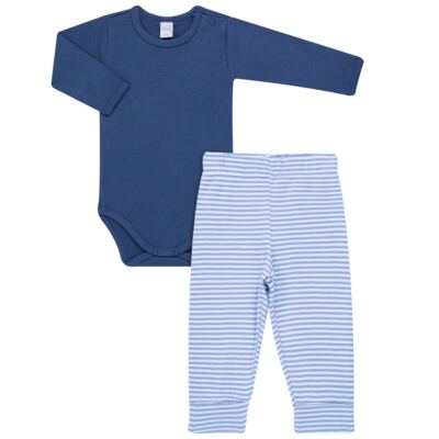 Imagem 1 do produto Body longo com Calça para bebe em algodão egípcio c/ jato de cerâmica e filtro solar fps 50 Mariner - Mini & Kids - CS571.323 CONJ BODY ML C/ MIJAO SUEDINE LISTRAS-M