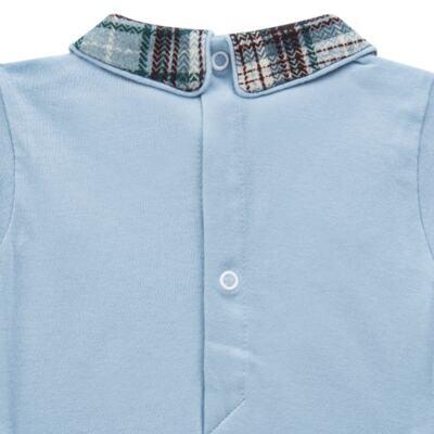 Imagem 4 do produto Body longo c/ Calça (Mijão) em algodão egípcio Windsor - Roana - 02532024370 Conjunto Body longo com Calça Azul Xadrez-P