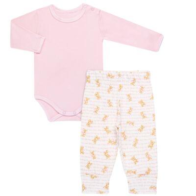 Imagem 1 do produto Body longo com Calça para bebe em algodão egípcio c/ jato de cerâmica e filtro solar fps 50 Pink Bear - Mini & Kids - CS611.201 CONJ. BODY ML C/ MIJAO SUEDINE URSINHAS-P