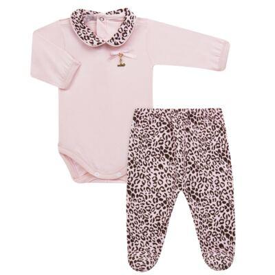 Imagem 1 do produto Body longo com Mijão para bebê em algodão egípcio Oncinha - Roana - 02532023220 CONJUNTO BODY GOLA + MIJÃO ONCINHA -RN