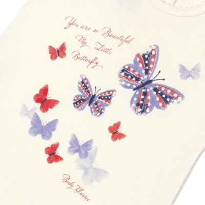 Imagem 2 do produto Blusinha para bebe em viscolycra Butterflies - Baby Classic - 6711629 BLUSINHA BASICA FEM. VISCOLYCRA BUTTERFLY 2 -GG