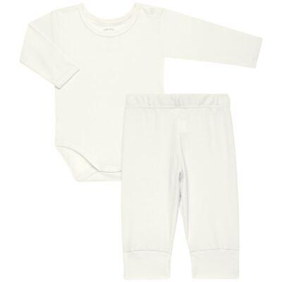 Imagem 1 do produto Body longo com Calça para bebe em Pima Cotton Supreme Marfim - Mini & Kids - RN