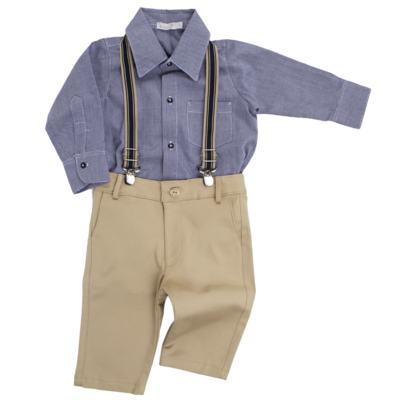 Imagem 1 do produto Body Camisa c/ Calça & Suspensório para bebe em tricoline Xadrez - Roana - Bege -RN