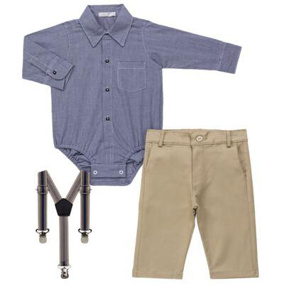 Imagem 2 do produto Body Camisa c/ Calça & Suspensório para bebe em tricoline Xadrez - Roana - Bege -RN