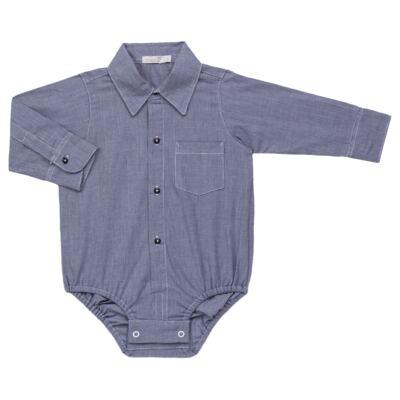 Imagem 3 do produto Body Camisa c/ Calça & Suspensório para bebe em tricoline Xadrez - Roana - Bege -RN