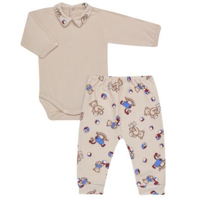 Imagem 1 do produto Body com Mijão em algodão egípcio Baby Toys - Roana - BM000887005 BODY C MIJAO 666 BEGE-G