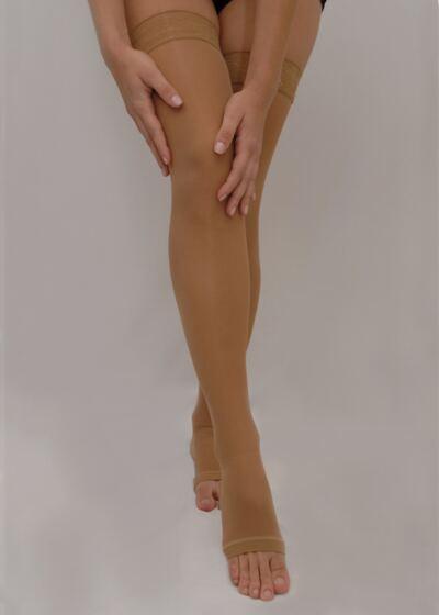 Imagem 3 do produto Meia Coxa Agh 20-30 Comfortline Venosan - Ponteira Fechada Curta Bege P