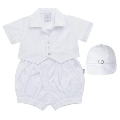 Imagem 1 do produto Camisa Colete, Shorts e Boné em tricoline Branco - Sylvaz - SZ273 Conjunto Curto Colete Batizado Branco-G