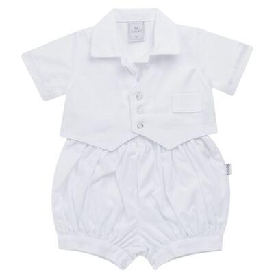 Imagem 2 do produto Camisa Colete, Shorts e Boné em tricoline Branco - Sylvaz - SZ273 Conjunto Curto Colete Batizado Branco-G