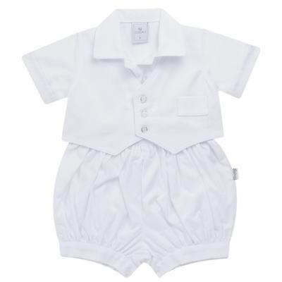 Imagem 2 do produto Camisa Colete, Shorts e Boné em tricoline Branco - Sylvaz - SZ273 Conjunto Curto Colete Batizado Branco-M