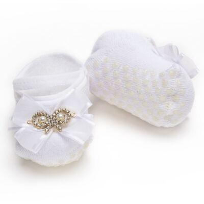 Imagem 3 do produto Sapatilha Meia para bebe Laço Strass Branca - Roana