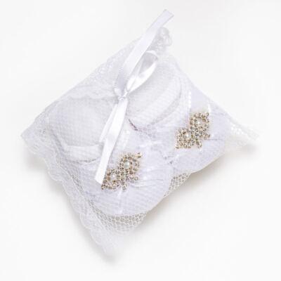 Imagem 4 do produto Sapatilha Meia para bebe Laço Strass Branca - Roana