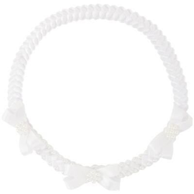 Imagem 1 do produto Faixa de cabelo trançada Laços & Pérolas Branca - Roana