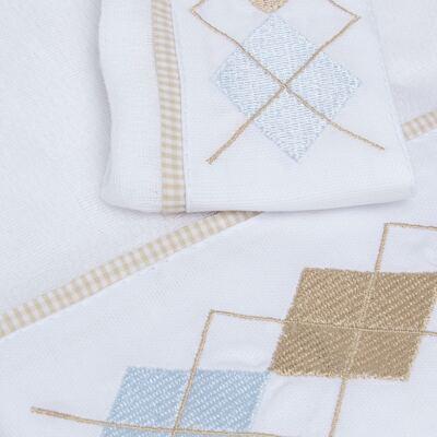Imagem 2 do produto Kit Amamentação: 1 paninho de ombro + 1 paninho de boca para bebe em fralda Argyle - Roana
