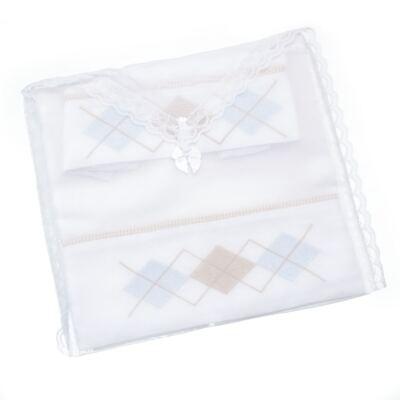 Imagem 3 do produto Kit Amamentação: 1 paninho de ombro + 1 paninho de boca para bebe em fralda Argyle - Roana