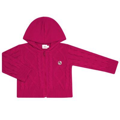 Imagem 1 do produto Casaco com capuz em tricot trançado Pink - Missfloor - 76TT0001.376 SWEATER COM TRANÇAS - TRICOT-1