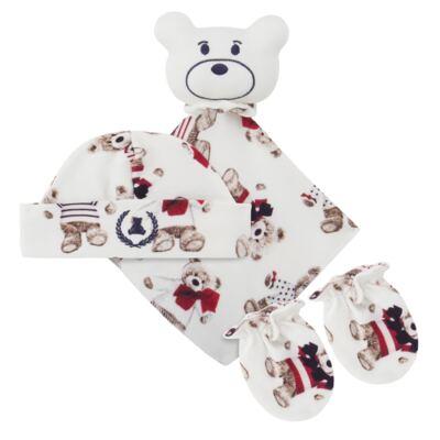Imagem 1 do produto Kit: Naninha Ursinho + Touca + Par de Luvas para bebe em suedine Baby Bear - Coquelicot