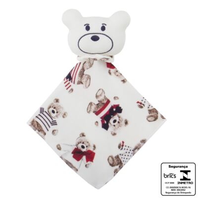 Imagem 3 do produto Kit: Naninha Ursinho + Touca + Par de Luvas para bebe em suedine Baby Bear - Coquelicot