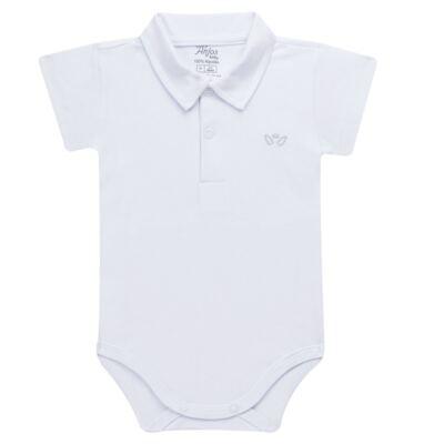 Imagem 1 do produto Body polo curto para bebe em suedine Branco - Anjos Baby - AB1010.001 Body Polo masc. suedine Branco -G