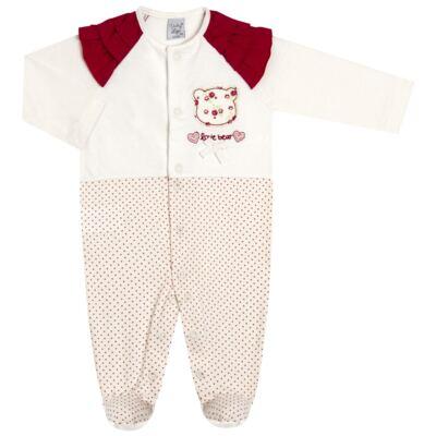 Imagem 1 do produto Macacão babadinhos para bebe em malha Flowery Bear - Vicky Lipe - 20741360 MACACÃO ML C/REC E BABADOS MALHA URSA FLORAL-P