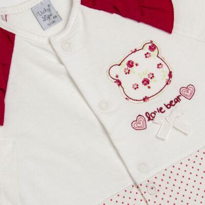 Imagem 2 do produto Macacão babadinhos para bebe em malha Flowery Bear - Vicky Lipe - 20741360 MACACÃO ML C/REC E BABADOS MALHA URSA FLORAL-P