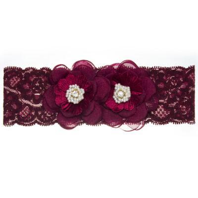Imagem 1 do produto Faixa renda Flores Pérolas & Strass Bordô - Roana
