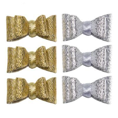 Imagem 1 do produto Kit: 6 laços c/ velcro Prata/Dourado - Roana