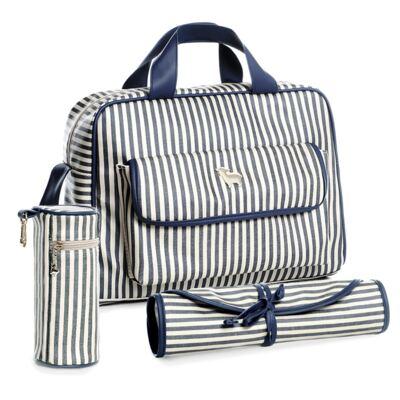 Imagem 1 do produto Bolsa maternidade para bebe + Porta mamadeira + Trocador portátil Listras Marinho - Majov