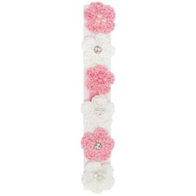 Imagem 1 do produto Kit 6 Flores adesivas Tricot Branca/Rosa - Roana