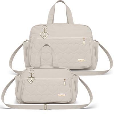 Imagem 1 do produto Bolsa + Frasqueira para Bebê Hearts Marfim - Classic for Baby Bags