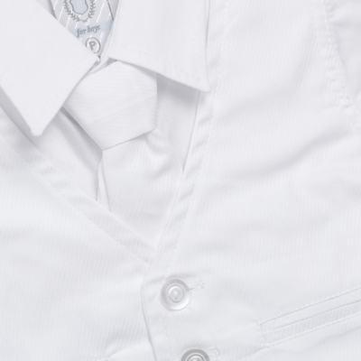 Imagem 2 do produto Camisa Colete & Gravata com Shorts em tricoline Branco - Sylvaz - SZ487 CONJUNTO CURTO BATIZADO C/ COLETE E GRAVATA-G