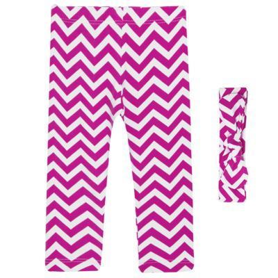 Imagem 1 do produto Legging c/ Faixa de cabelo para bebe em lycra Chevron Pink - Letiti - LTT03 LEGGING FAIXA LUMA PINK-G