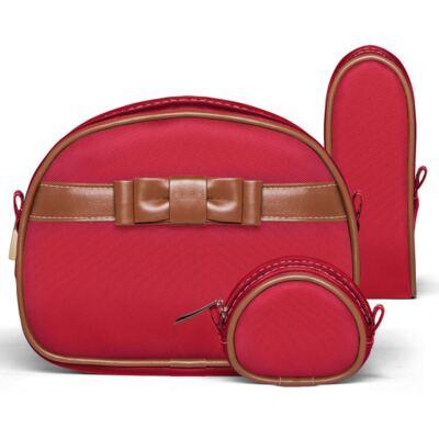 Imagem 1 do produto Kit Acessórios para bebe Laço Caramel Vermelho - Classic for Baby Bags