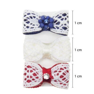 Imagem 2 do produto Kit: 3 Laços c/ velcro em renda, pérolas & strass Marinho/Branco/Vermelho - Roana