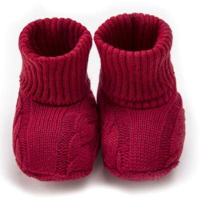 Imagem 1 do produto Botinha para bebe em tricot trançado Vermelha - Mini Sailor