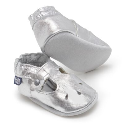 Imagem 2 do produto Sapatilha Boneca para bebe em couro Eco Prata - Babo Uabu - BABO35 Sandalia Boneca Prata-12-18 meses