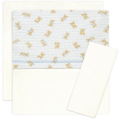 Imagem 1 do produto Jogo de lençol para carrinho em algodão egípcio c/ jato de cerâmica e filtro solar fps 50 para carrinho Maternity Blue Bear - Classic for Baby