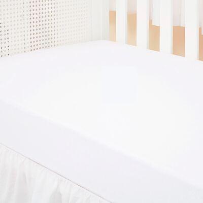 Imagem 3 do produto Kit: 2 Lençóis de baixo para berço em malha Marfim/Branco - Biramar Baby