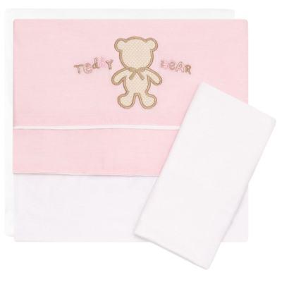 Imagem 1 do produto Jogo de lençol para carrinho em malha Pink Teddy Bear - Classic for Baby
