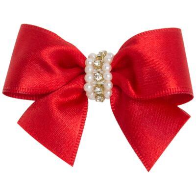Imagem 1 do produto Presilha Laço Cetim Pérolas Vermelha - Roana