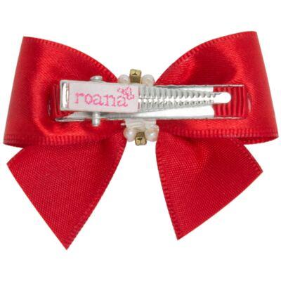 Imagem 2 do produto Presilha Laço Cetim Pérolas Vermelha - Roana