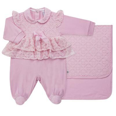 Imagem 1 do produto Jogo Maternidade para bebe com Macacão e Manta em suedine Gabrielly - Beth Bebê - BB8824 Saida Maternidade Suedine Gabrielly-RN