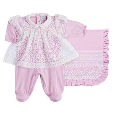 Imagem 1 do produto Jogo Maternidade para bebe com Macacão Vestido e Manta em suedine Carlota - Beth Bebê