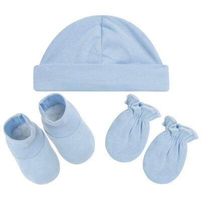 Imagem 1 do produto Kit c/ Touca, Luva e Sapatinho em high comfort Azul - Vicky Baby