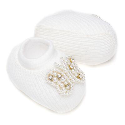 Imagem 4 do produto Sapatinho para bebe em tricot com Faixa Borboleta Pérolas Marfim - Roana